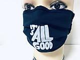 Защитная чёрная с накатом маска  на лицо хлопковая многоразовая, фото 8