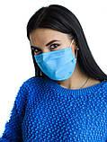 Защитная чёрная с накатом маска  на лицо хлопковая многоразовая, фото 10