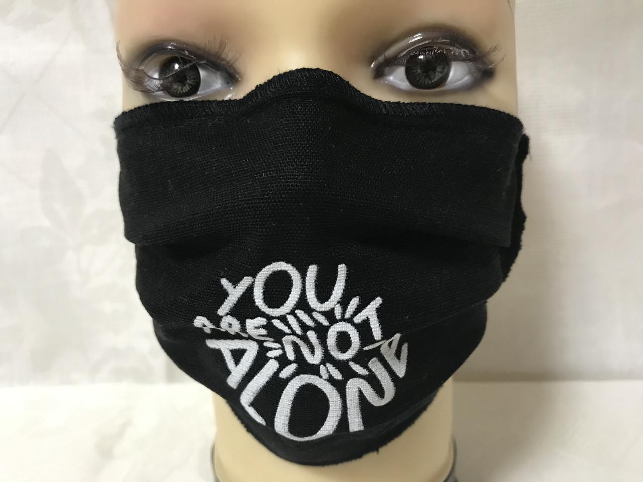 Защитная чёрная с накатом маска  на лицо хлопковая многоразовая