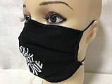 Защитная чёрная с накатом маска  на лицо хлопковая многоразовая, фото 3