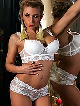 Комплект жіночої нижньої білизни Acousma A6439BC-P6439H оптом, чашка C, колір Молочний