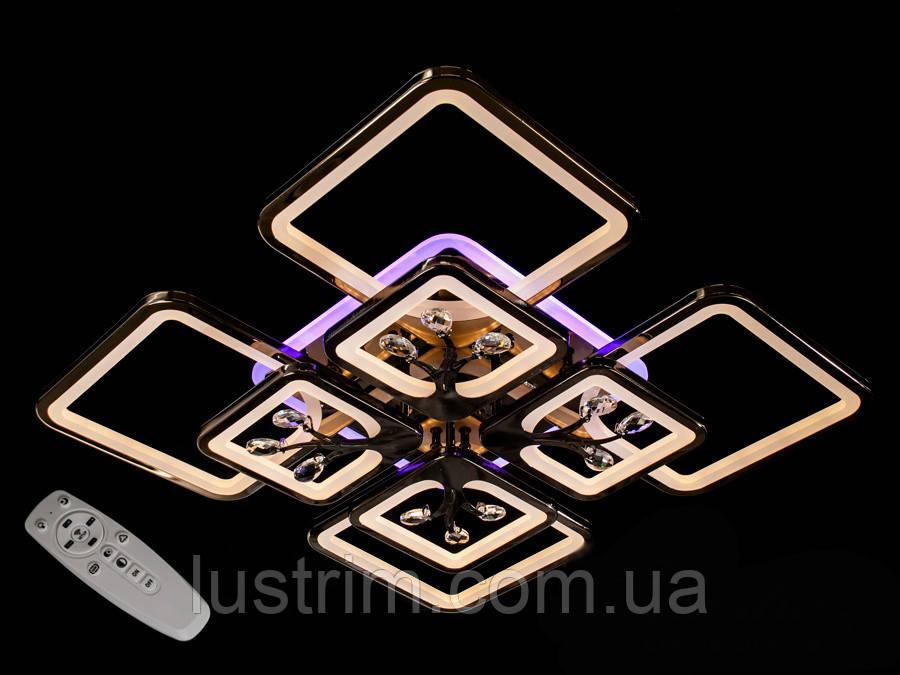 Светодиодная люстра с диммером и LED подсветкой, цвет чёрный хром, 200W