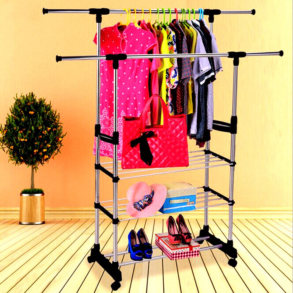Стойка для одежды телескопическая до 70кг Усиленая Colgador doble ajustable с полками, вешалка для одежды