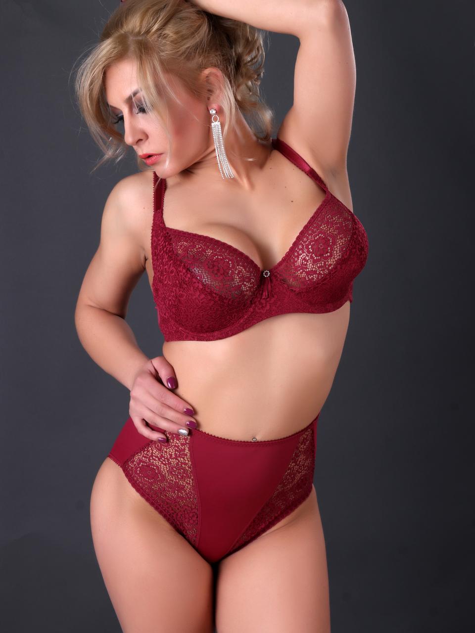 Комплект женского нижнего белья Acousma U6462DE-P6462H оптом, чашка D, цвет Бордовый
