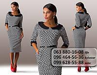 Элегантное женское платье средней длины с круглым воротником черно-белое