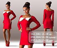 Эффектное женское короткое платье с длинным рукавом и декоративным бантом на груди красное