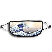 Маска для лица защитная с принтом Большая волна