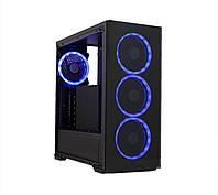 Корпус Frime Wanda blue led без БП (Wanda-U3-GLS-4BDRF); 1xUSB 3.0, 2xUSB, Левая боковая панель из закаленного стекла, 4шт Blue Double Ring Fan