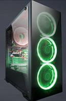Корпус Frime Wanda green led без БП (Wanda-U3-GLS-4GDRF); 1xUSB 3.0, 2xUSB, Левая боковая панель из закаленного стекла, 4шт Green Double Ring Fan