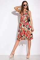 Платье GS с необычным принтом 120POI19017 (Кораллово-бежевый)