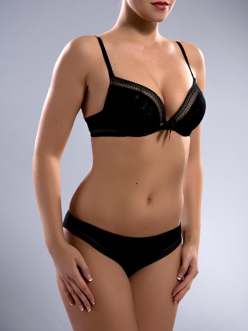 Комплект женского нижнего белья Acousma A6358-1BC-P6358H оптом, чашка C, цвет Черно-Бежевый