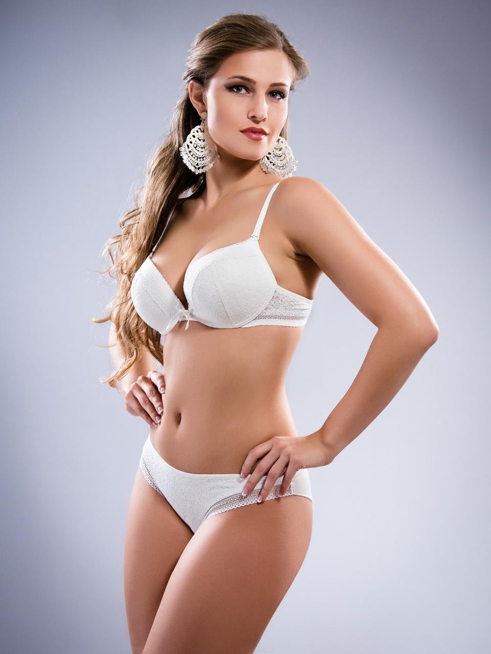 Комплект женского нижнего белья Acousma A6358-2D-P6358H оптом, чашка D, цвет Молочный