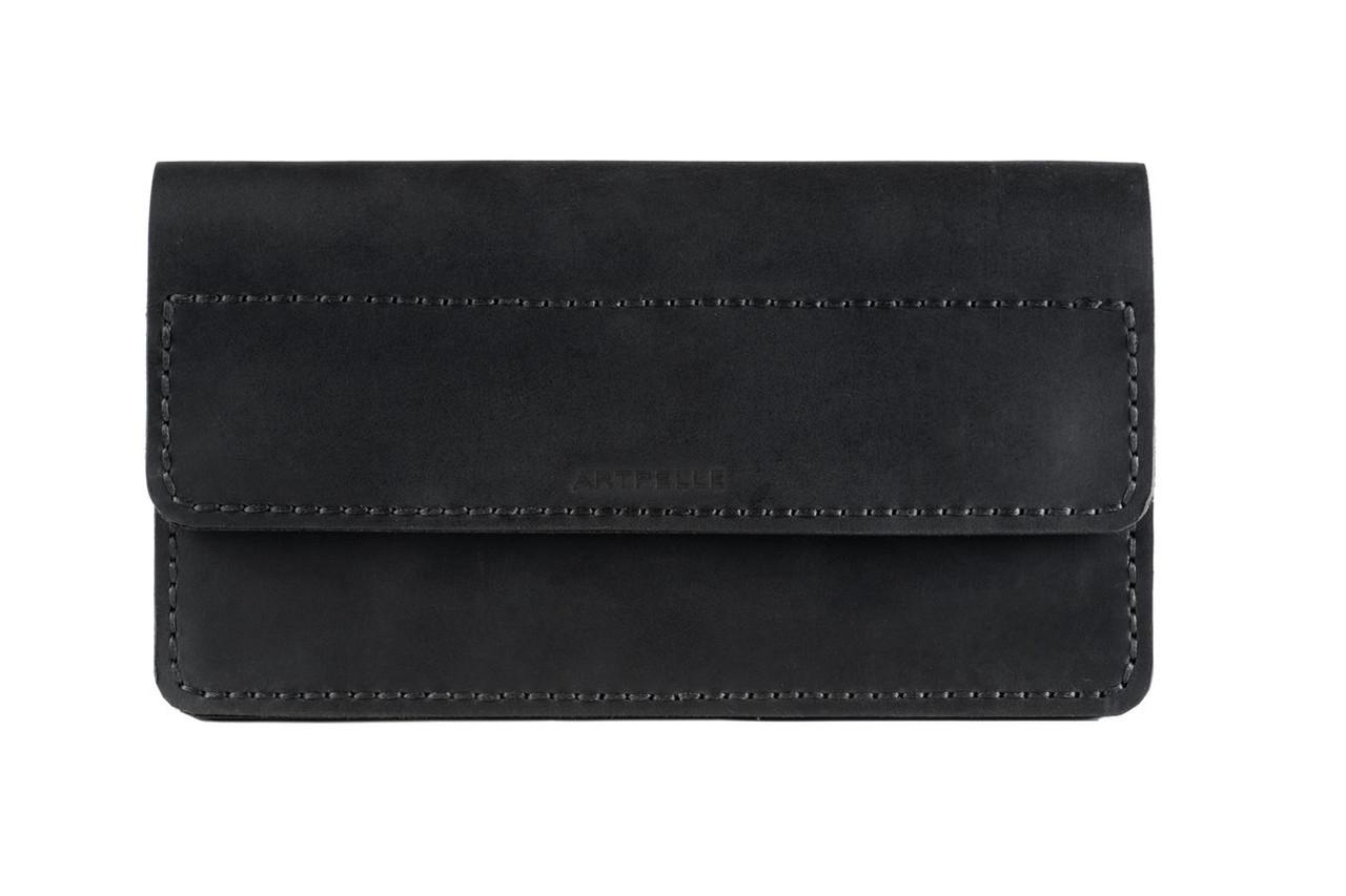 Большой кожаный женский клатч-кошелек Clutch черный