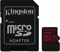Карта памяти MicroSDHC 32GB UHS-I/U3 Class 10 Kingston Canvas React R100/W80MB/s + SD-адаптер (SDCR/32GB)