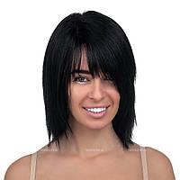 Женский парик из натуральных волос на сетке - система Kira HH чёрного цвета