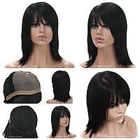 Парик из натуральных волос на сетке - система Kira HH чёрного натурального цвета
