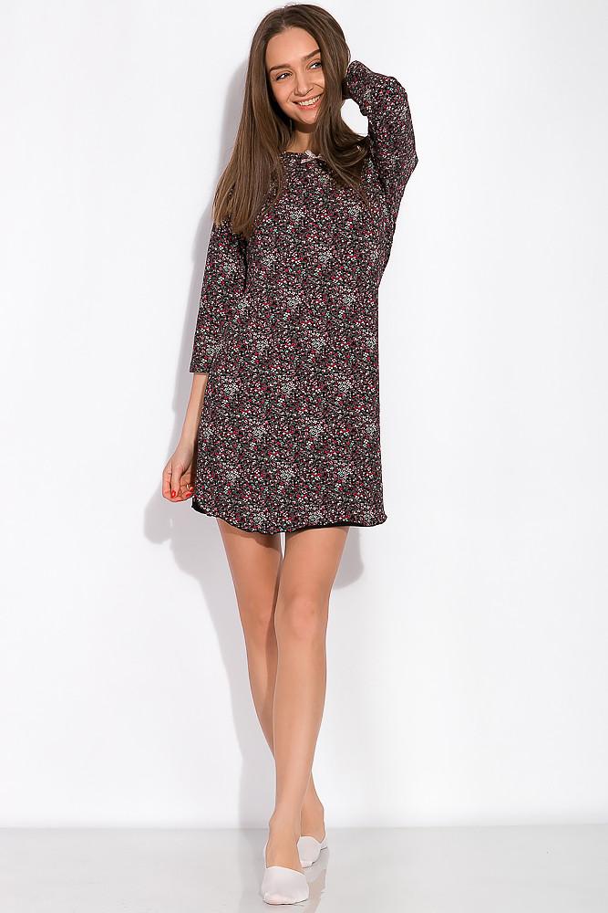 Ночная женская сорочка 107P13-3 (Черно-розовый/принт)