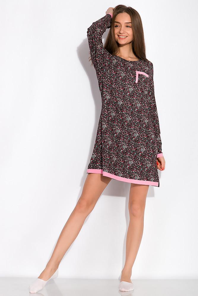 Сорочка с цветочными мотивами 107P131 (Черно-розовый)
