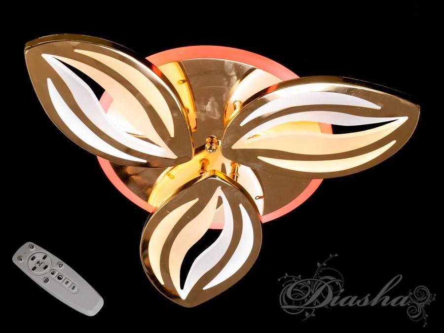 Стельова люстра з діммером і LED підсвічуванням, колір золото 8092/3G LED 3color dimmer