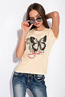 Футболка женская с принтом Бабочка 148P333-9 (Светло-желтый), фото 1