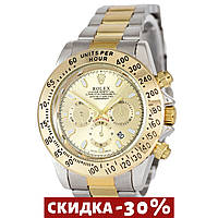 Женские наручные часы Rolex Daytona Quartz Date Silver-Gold-Gold