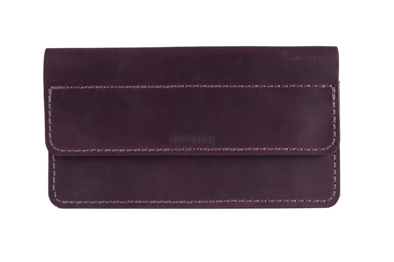Большой кожаный женский клатч-кошелек Clutch марсала