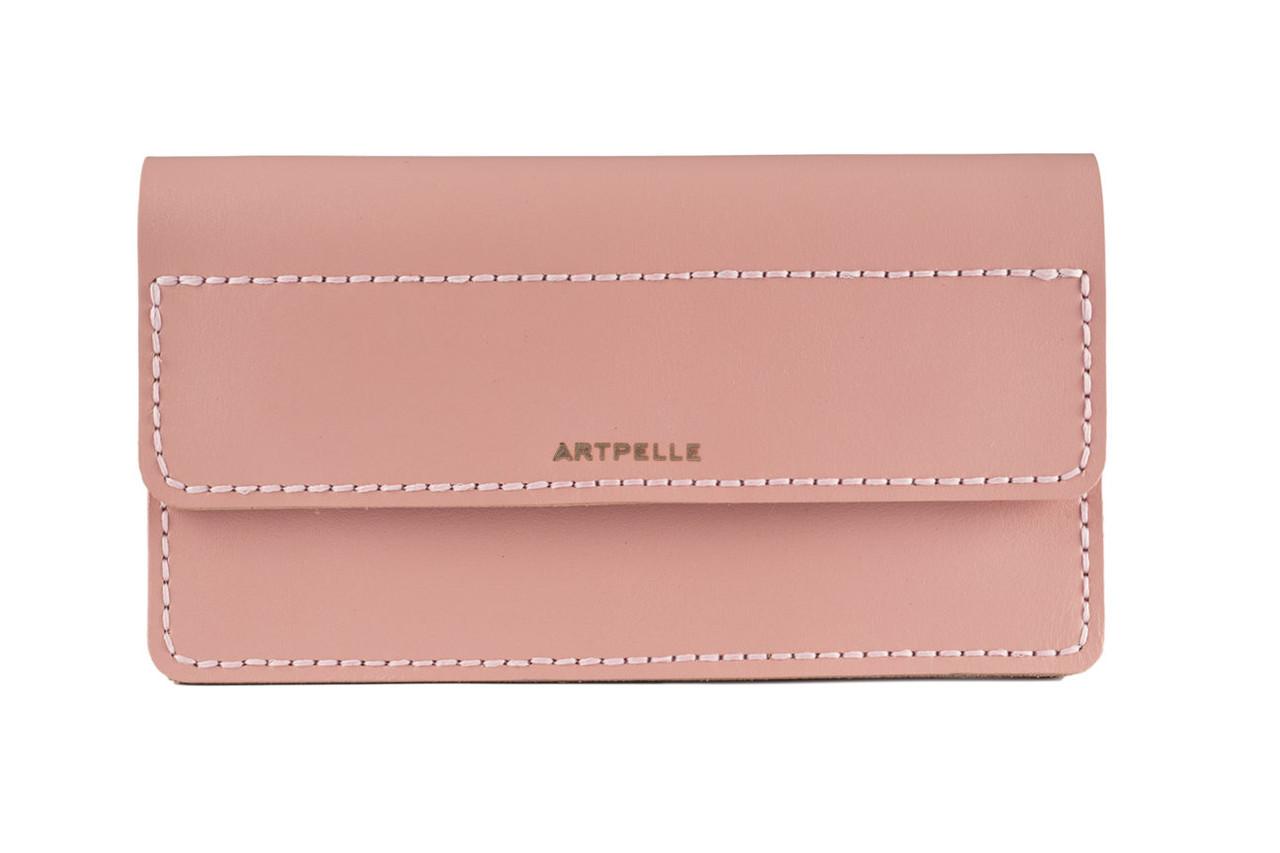 Большой кожаный женский клатч-кошелек Clutch розовый