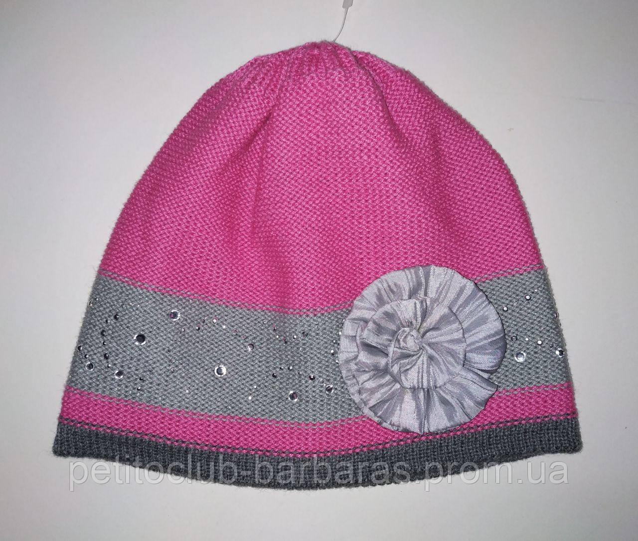 Детская демисезонная шапка с цветком для девочки розовая (AJS, Польша)