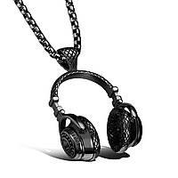"""Кулон з медичної сталі """"Навушники"""" з чорним покриттям, фото 1"""