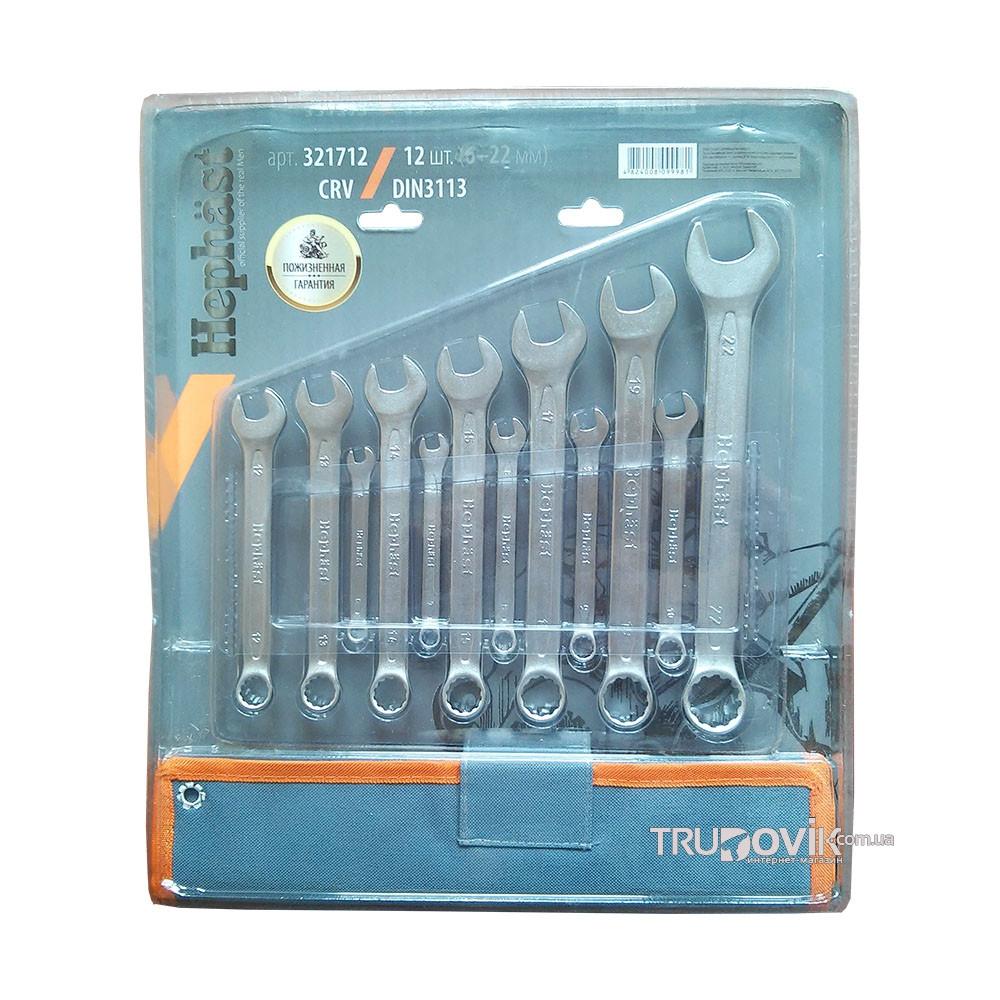 Набор ключей рожково-накидных CRV DIN 3113 12 шт(6,7,8,9,10,12,13,14,15,17,19,22мм) в брезенте Miol