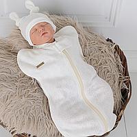 Летняя евро пеленка с шапочкой для новорожденного wind (молоко) 0-3 мес MagBaby