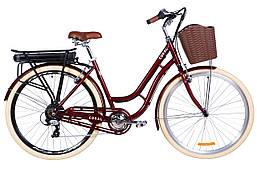 """Электровелосипед 28"""" CORAL трещ., 350Вт 36В редуктор. задн.привод, 12.5Ач с крепл. к багажн., приложение,"""