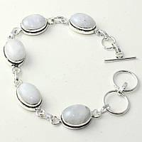 Красивый браслет с натур. лунным камнем в серебре. Браслет натуральный лунный камень! Индия