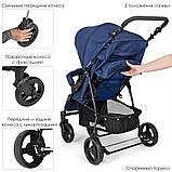 Всесезонна дитяча прогулянкова коляска-книжка El Camino My Way синій колір + чохол на ніжки, фото 2