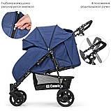 Всесезонна дитяча прогулянкова коляска-книжка El Camino My Way синій колір + чохол на ніжки, фото 6
