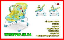 Детский напольный шезлонг-качалка с регулируемой спинкой, Bambi 6904-1 салатовый. Дитяче крісло качалка
