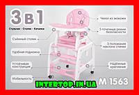 Детский стульчик для кормления трансформер Bambi M 1563-11 розовый. Дитячий стільчик для годування