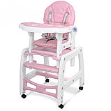 Стільчик трансформер для годування Bambi M 156311 рожевий. Дитячий стільчик для годування, фото 6