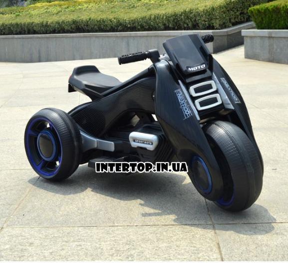 Детский трехколесный электромобиль мотоцикл BMW Hurricane на резиновых колесах M 3926A-2 черный
