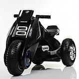Детский трехколесный электромобиль мотоцикл BMW Hurricane на резиновых колесах M 3926A-2 черный, фото 2