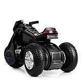 Детский трехколесный электромобиль мотоцикл BMW Hurricane на резиновых колесах M 3926A-2 черный, фото 4