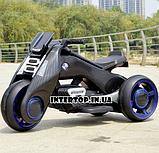 Детский трехколесный электромобиль мотоцикл BMW Hurricane на резиновых колесах M 3926A-2 черный, фото 8