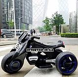 Детский трехколесный электромобиль мотоцикл BMW Hurricane на резиновых колесах M 3926A-2 черный, фото 9