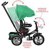 Дитячий триколісний велосипед з ручкою і поворотним сидінням на надувних колесах,TURBOTRIKE зелений, фото 4