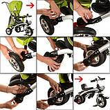 Трехколесный велосипед-беговел трансформер с  поворотным сиденьем на надувных колесах, Turbotrike бежевый, фото 2