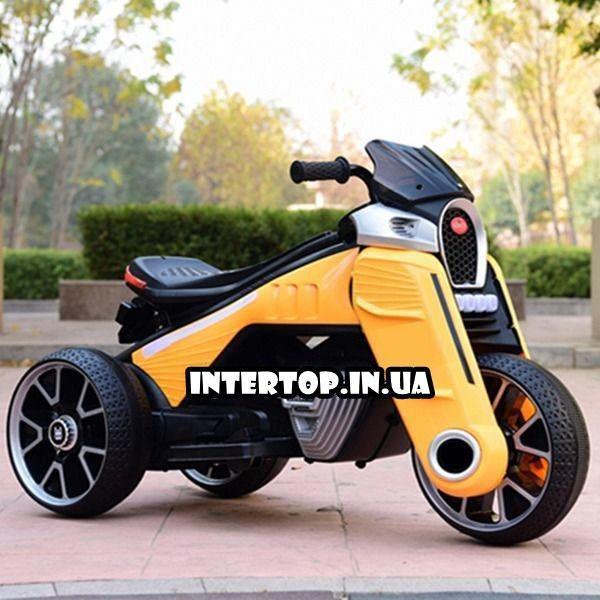 Детский трехколесный электро-мотоцикл на мягких колесах для детей от 3 до 6 лет  M 4113EL-6 желтый