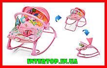 Детский шезлонг-качалка напольная с регулируемой спинкой, розовый цвет. Дитячий шезлонг  Pliko PK-306-8