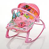 Детский шезлонг-качалка напольная с регулируемой спинкой, розовый цвет. Дитячий шезлонг  Pliko PK-306-8, фото 2