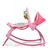 Детский шезлонг-качалка напольная с регулируемой спинкой, розовый цвет. Дитячий шезлонг  Pliko PK-306-8, фото 3