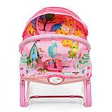 Детский шезлонг-качалка напольная с регулируемой спинкой, розовый цвет. Дитячий шезлонг  Pliko PK-306-8, фото 6